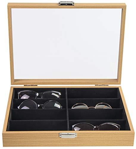 LAUBLUST Brillenbox Holz-Optik 8 Fächer - ca. 35 x 26 x 7 cm, Naturbraun | Brillenkasten mit Glas-Deckel