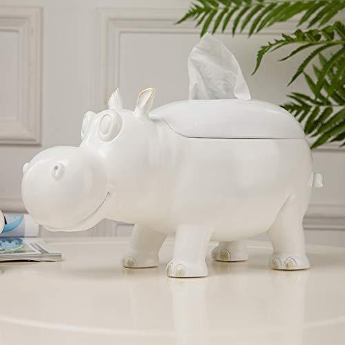 Liling - Caja de pañuelos minimalista, diseño de hipopótamo, color blanco