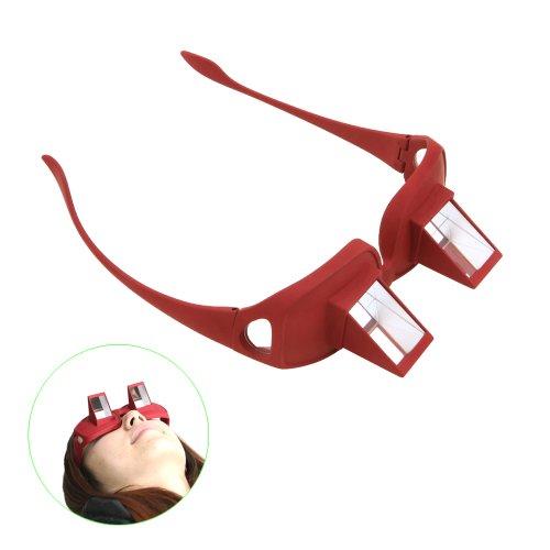 Tera® Gafas de Prisma Visión Horizontal para Relajamiento Gafas de Periscopio para Lectura de Libro y Televisión para la Cama (Rojo)