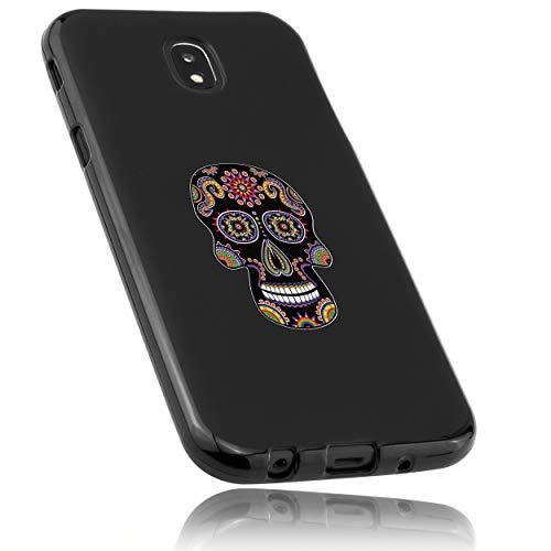 mumbi Funda Compatible con Samsung Galaxy J5 2017 Caja del teléfono móvil Avec Motif Calavera, Negro