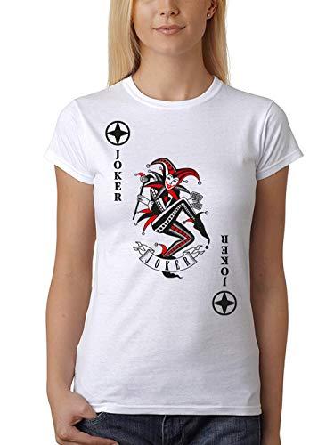 clothinx Damen T-Shirt Fit Karneval & Fasching Spielkarte Joker Kostüm Weiß/Schwarz_Rot Größe S