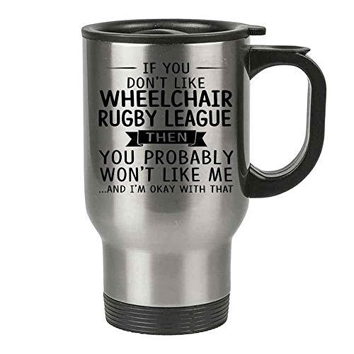 Isolierter Reisebecher, Geschenk für Rollstuhl, Rugby-League-Liebhaber, 400 ml, Edelstahl