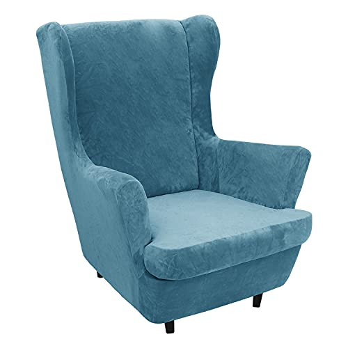 GYHH 2 Stück Samt Plüsch Stretch Sesselbezug Ohrensessel Schonbezug Ohrensesselbezuga Möbelbezüge Für Sessel Stühle Wohnzimmer (Peacock Blue)