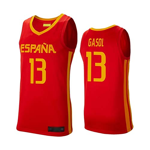WOLFIRE WF Camiseta de España 2019 para Hombre, Mundial de China. Llul, Gasol, Rubio. Estampado, Transpirable y Resistente al Desgaste Camiseta para Fan (Gasol Rojo, M)