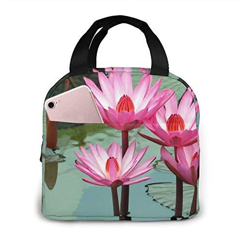 Lotus, Water Lily, Water Bolsa de almuerzo aislada reutilizable Cooler Tote Box Preparación de comidas para hombres y mujeres Work Picnic o Travel
