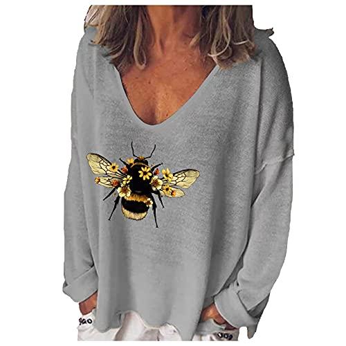 Oberteile Damen Sommer Sexy Shirt Damen Weiss Hemd Pullover Sweatshirt Tshirt Mädchen Casual Lose Oberteil Damen PlüSch Hoodie Damen Oberteile Damen Vintage Bunt Bedrucktes(Gray,XL)