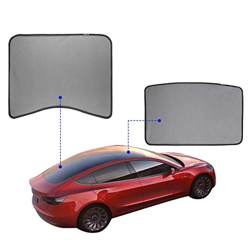 TOPlight Automotive Sun Protection Sunshades for Tesla Model 3,Model 3 Glass Roof Sunshade Sunroof Rear Window Sunshade Compatible