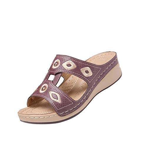 Damen Wedge Heel Flip Flops Bestickte Sandalen Hausschuhe, Schuhe für Einkaufen Strand Tägliche Reise
