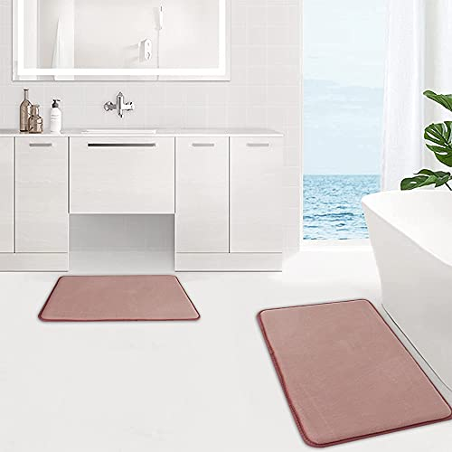 Thick Flannel Memory Bath Mat Sets(20Inch X 32Inch +17Inch X 24Inch),Cushioned Soft Floor Mat Bathroom Rug Carpet,Super Non-Slip Rapid Water Absorption Soft Comfortable Dry Machine Wash Bathroom Mat