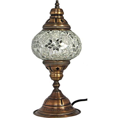 VIWIV Lámpara de Escritorio Lámpara de Mesa, lámpara de Mosaico, Vidrio Blanco, Farol marroquí, lámpara turca, iluminación de cabecera