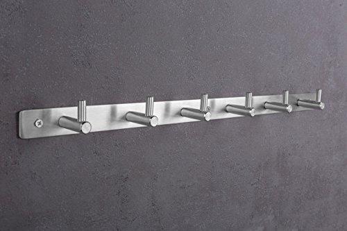 Gedotec Wand-Garderobe Flur - Küche - Paneel Hakenleiste Edelstahl matt - MOON | Kleiderhaken-Leiste mit 6 Haken | Wandhaken zum Schrauben | 1 Stück - Garderoben-Leiste inkl. Befestigungsmaterial