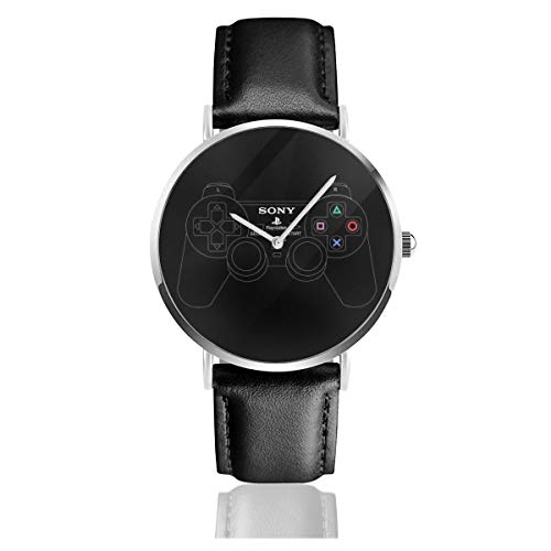 Unisex Business Casual Playstation 2 Dual Analog Gaming Controller Uhren Quarz Leder Uhr mit schwarzem Lederband für Männer Frauen Junge Kollektion Geschenk