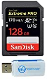 SanDisk 128GB Extreme Pro Memory Card works with Canon EOS Rebel T5, T6, T6i, T7i, EOS 5D Mark IV, 6D Mark II, 5D Mark III, DSLR Camera SDXC 4K V30 UHS-I with Everything But Stromboli Combo Reader