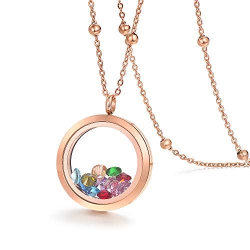 EVERLEAD Stainless Steel Rose Gold Living Memory Floating Charms Locket Necklace with Chain and a Set of Birthstones