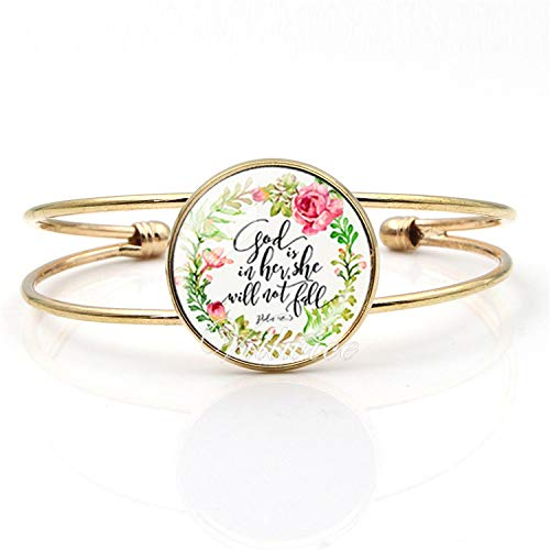 Daawqee Damen Armband,Wickelarmband, Bible Verse Bangle Bracelet Glass Cabochon Cuff Bangles for Women Psalm Christian Jewelry Faith Gifts SZ005-J