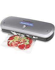 KitchenBoss 3-in-1 vacuümapparaat voor droge en vochtige levensmiddelen, automatisch/handmatig vacuüm-sluitsysteem, vacuümverpakker folielast (incl. 20 zakken en 1 broek) /grafiet grijs