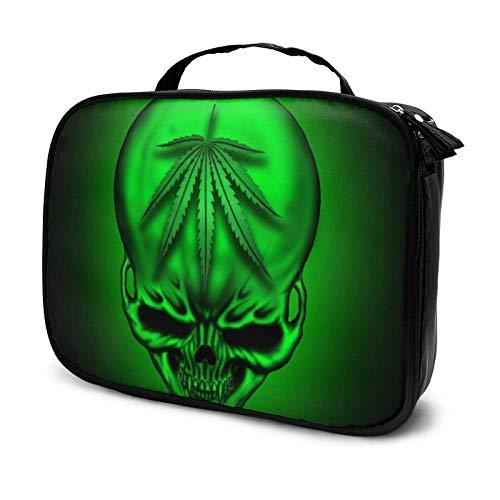 Bolsa de maquillaje Green Marihuana Skull Travel Makeup Case Travel Makeup Train Case Cosmético Bolsa grande Makeup Organizer Cajas