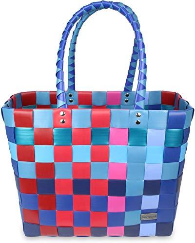 normani Einkaufskorb Shopper geflochten aus Kunststoff - robuster Strandkorb aus wasserabweisendem Material Farbe Classic/Grande