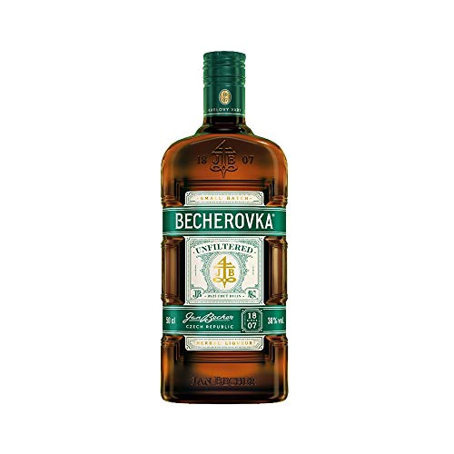 Becherovka Unfiltered Kräuterlikör 38% Hergestellt aus reinem Karlsbader Wasser, hochwertigem Alkohol und einer Mischung aus Kräutern und Gewürzen (1 x 0,5 Liter)