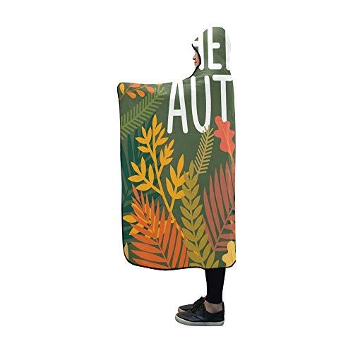 Plsdx Couverture à Capuche Hello Autumn Blanket 60x50 Pouces Comfotable Wrap à Capuche