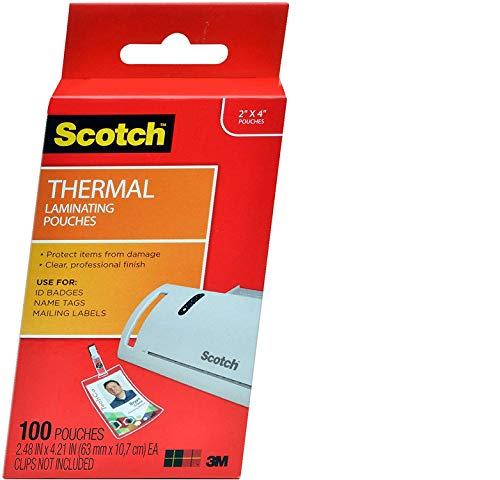 Scotch Thermal Laminating Pouches, 2.4 x 4.2-Inches, ID Badge Without Clip, 100-Pouches (TP5852-100) - New Version