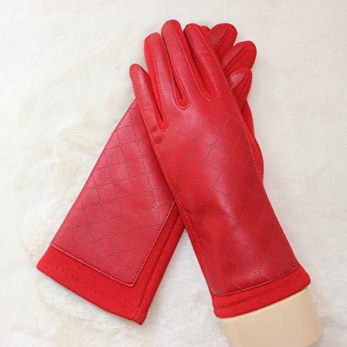 Guantes para Hombres y Mujeres Las mujeres de invierno guantes de cuero Tela Mantenga guantes calientes guantes calientes del patrón Drive a prueba de viento de sección ligera de celosía Guantes de In