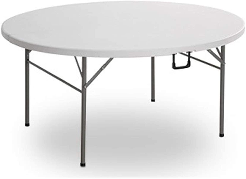 ポータブル 屋外 キャンプ用品 携帯用庭のダイニングテーブルの円形の折る携帯用キャンプテーブル (色 : 白, サイズ : 122*122*74cm)