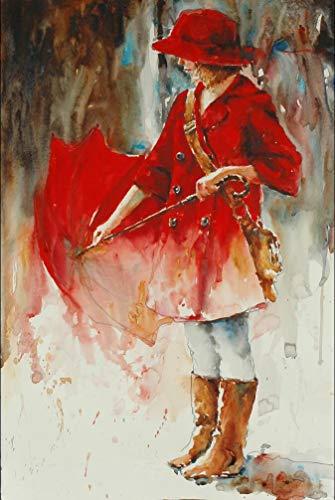 WZMFBH Moderne Abstrakte Figur Leinwand Malerei Hand Malen Menschen mit Regenschirm Poster Wandkunst Bilder für Wohnzimmer Dekoration
