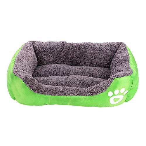 MISSMAO_FASHION2019 Hundebett,Hundesofa aus Cordura, Microfaser-Velours, waschbares Hundebett mit Rand, Hundekissen Vier-eckig Grün S(42x38cm)