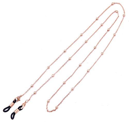 Likgreat Brillenkette für Damen, Perlenkette für Lesebrillen, Sonnenbrillen, Brillenhalter Rose Gold, Black Connector