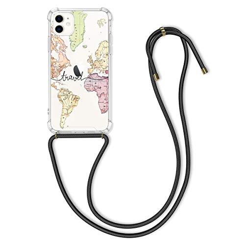 kwmobile Hülle kompatibel mit Apple iPhone 11 - mit Kordel zum Umhängen - Silikon Handy Schutzhülle Travel Schriftzug Schwarz Mehrfarbig Transparent