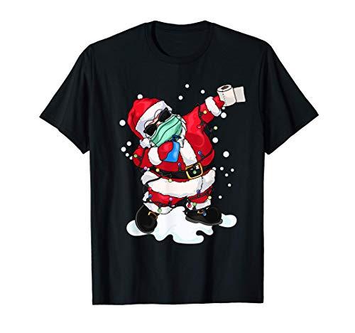 El Papá Noel con la máscara de la Navidad Luces del árbol de Camiseta