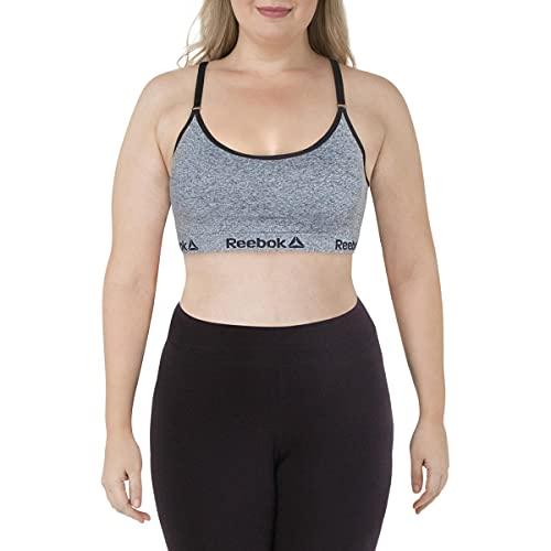 Reebok Women's Wireless Racerback Sports Bra - Medium Impact Seamless Workout Bralette - Illusion Charcoal Heather, Small