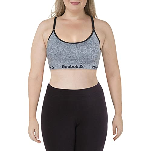 Reebok Womens Medium Support Fitness Sports Bra Gray M