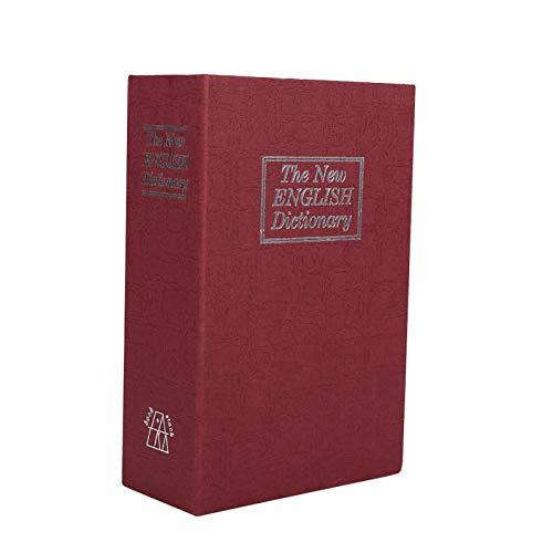 Caja de diccionario de bloqueo de seguridad, 1 pieza de diccionario de bloqueo de seguridad seguro libro secreto dinero en efectivo joyería caja de casillero secreto(rojo)