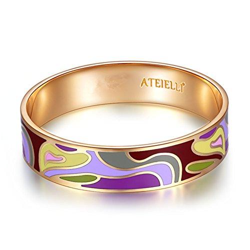 ATEIELLO® Armreif, Armband, Emaille, 750er Rotgoldauflage, für Damen, 19cm