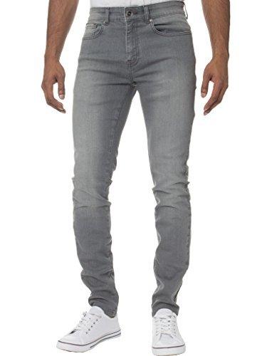 Kruze Mens Super Skinny Stretch Jeans KZ106 Grey 32