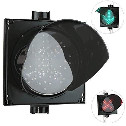 PrimeMatik - Ampel für Innen- und Außenbereich IP65 schwarz 1 x 200mm 12-24V mit grün-Pfeil und rot-Kreuz
