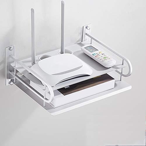 Mensola Mobile per componenti TV, Console multimediale montata a Parete in Metallo, mensola per decoder TV Non Perforata per decoder Via Cavo Router telecomandi Lettori Dvd Console di Gioco