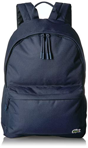 Lacoste Men's Solid Canvas Backpack, Peacoat, One Size