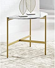 Signature Design by Ashley Wynora Contemporary Half Moon Chairside End Table with Faux Marble Top, White & Gold