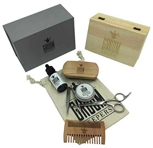 Best Deluxe Beard & Mustache Grooming Kit by Groom Keepers - Highly Rated 8-Piece Kit w/Wooden Storage Box & Beautiful Gift Box. Incl Beard Oil, Balm, Brush, Comb, Scissors, 2 Tweezers, Travel Bag!