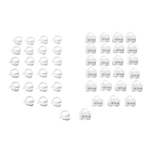 Ikea VIDGA Gardinen Gleiter & Haken in weiß 24 Stück