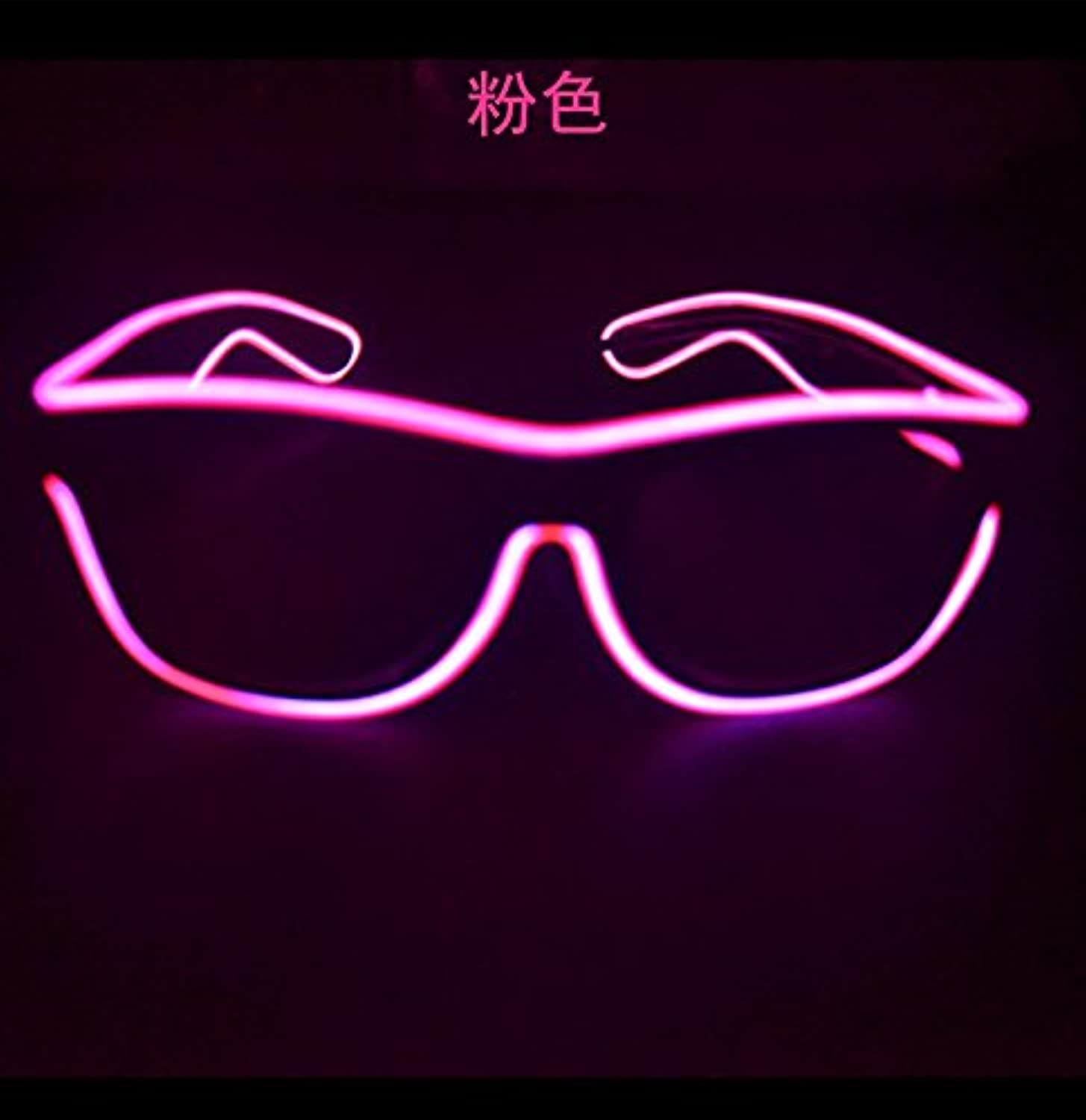 AgileShop FashionableGlow Eye Glasses with Voice Control Light Up El Wire Led Flashing Glasses for Halloween Christmas Birthday Party Favor (Pink)