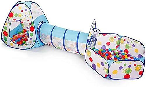 GG-game tent Kinderspielzelt-Tunnel -Teepee-Spielplatz 3-in-1-Pop-up-Indoor-Outdoor-Spielhaus Spielzeughütte Easy Fold Ocean Ball Pool mit Basketballkorb