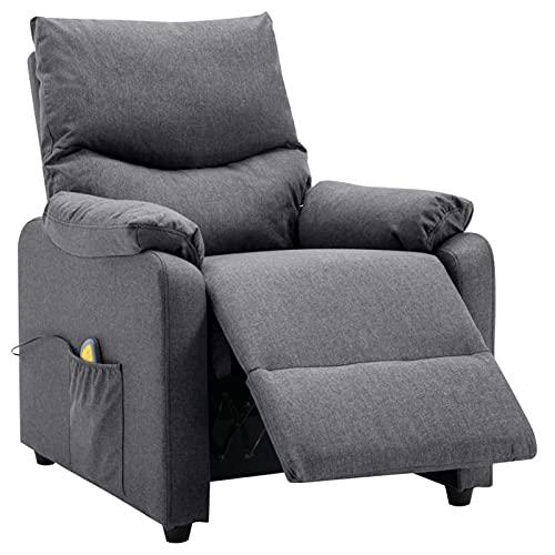 Susany Sillón de Masaje eléctrico y reclinable Tela Gris Oscuro Sillón reclinable butaca