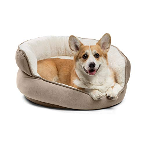 Best Friends by Sheri Pet Throne Round Dog Bed - Orthopedic Cat, Dog, Puppy Sherpa Cuddler for Small & Medium Pets with High Walls for Security & Comfort, Machine Washable (Jumbo Size in Wheat)