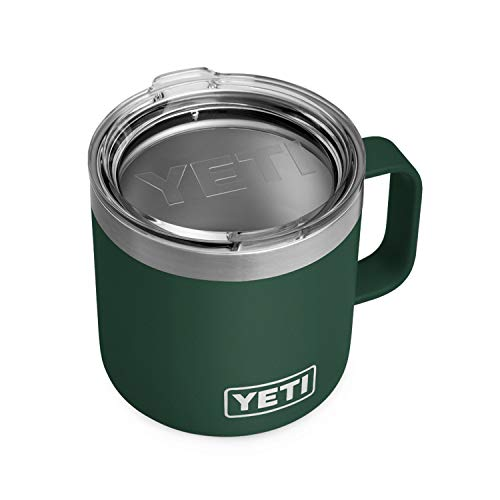 YETI Rambler 14 oz Mug, Stainless Steel, Vacuum Insulated with Standard Lid, Northwoods Green