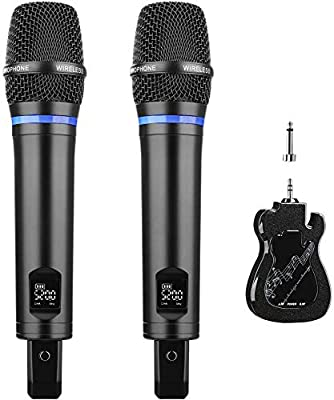 Wireless Microphone Rechargeable, ARCHEER Dual Karaoke Microphone Professional Handheld Mic UHF Portable Microphones Set with Bluetooth Receiver for Soundbar PA Speaker Mixer Speech Church