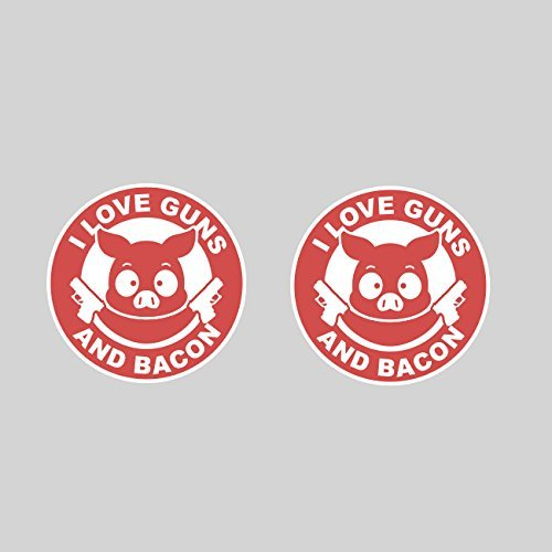 KW Vinyl Magnet Two Pack I Love Guns and Bacon Magnetic Vinyls Car Magnet Bumper Sticker
